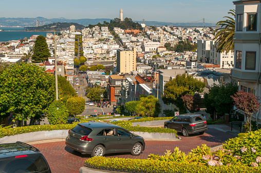 Hairpin Curve「Automobiles driving down Lombard Street hill」:スマホ壁紙(2)