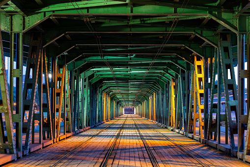 Poland「Gdanski Bridge with tramway track at night, Warsaw, Poland」:スマホ壁紙(15)