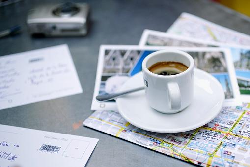Coffee - Drink「Espresso, Postcards, and a City Map」:スマホ壁紙(16)