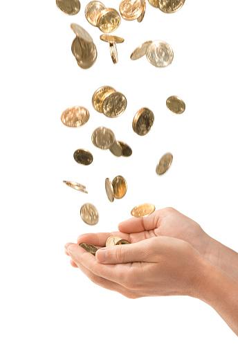 金運「雄カップ状手を引く落ちる金貨白で分離」:スマホ壁紙(9)