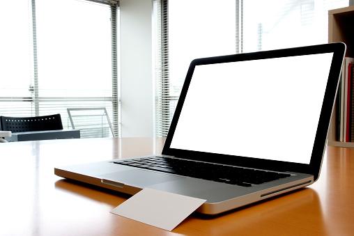 Business Card「Blank laptop with blank business card inside of an office」:スマホ壁紙(17)