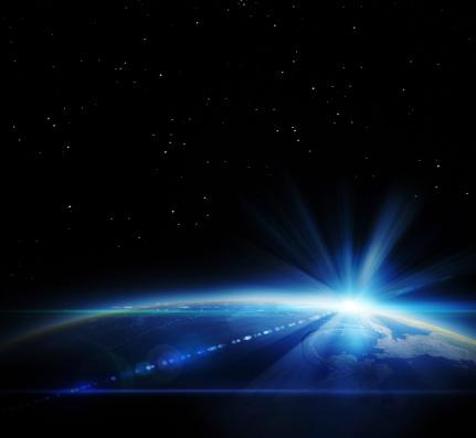 星空「日の出のスペース」:スマホ壁紙(13)