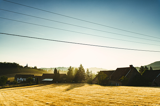 Electricity Pylon「Sunrise in French countryside with farm.」:スマホ壁紙(18)