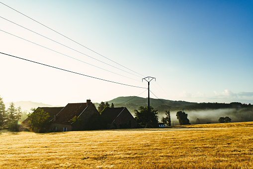 Electricity Pylon「Sunrise in French countryside with farm.」:スマホ壁紙(19)