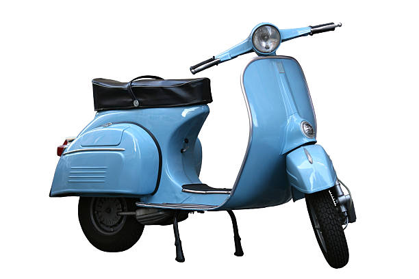 Italian vintage scooter isolated on white in Rome, Italy:スマホ壁紙(壁紙.com)