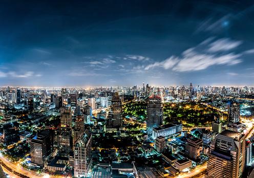 City「Thailand, Bangkok, skyline at night」:スマホ壁紙(11)