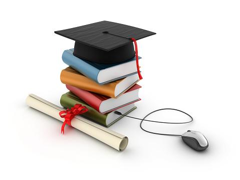 卒業「スタックの書籍を卒業キャップ、およびマウス」:スマホ壁紙(14)