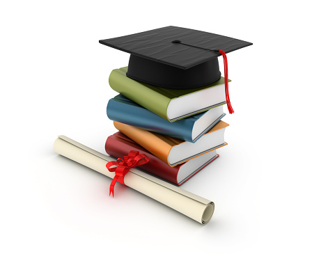 Mortarboard「Stack of Books with Graduation Cap」:スマホ壁紙(14)