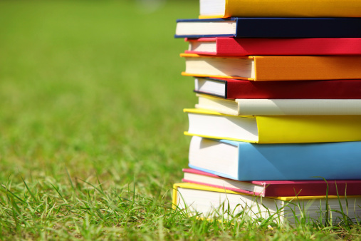 Hardcover Book「Stack of Books on Grass」:スマホ壁紙(9)