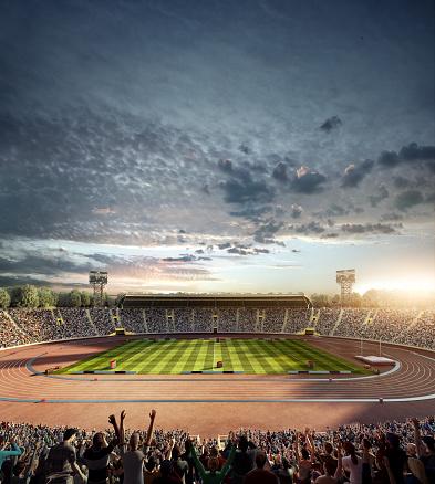 オリンピック「ドラマチックなオリンピックスタジアム、ランニングトラック」:スマホ壁紙(3)