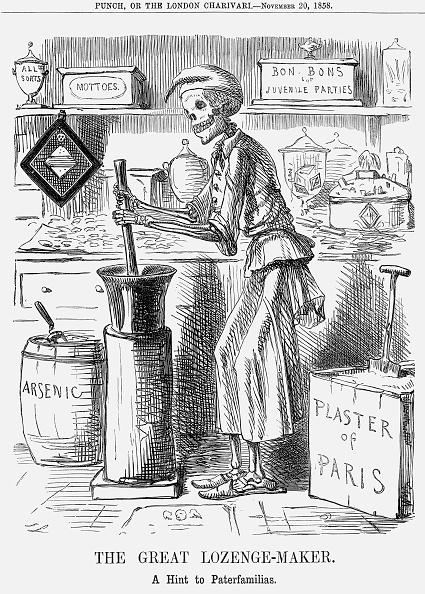 Mortar and Pestle「'The Great Lozenge-Maker. A Hint to Paterfamilias', 1858. Artist: John Leech」:写真・画像(2)[壁紙.com]