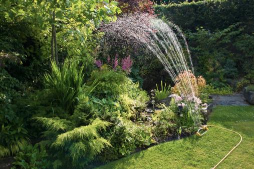 Sprinkler「A Sprinkler Watering A Beautifully Landscaped Yard」:スマホ壁紙(17)