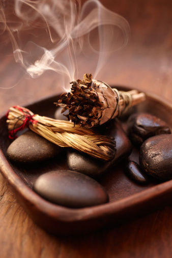 Incense「Burning incense Sage stick and pebbles」:スマホ壁紙(14)