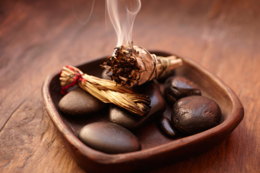 Incense「Burning incense Sage stick and pebbles」:スマホ壁紙(10)