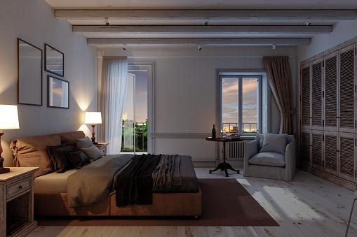 Bedroom「Classic Scandinavian Bedroom At Night」:スマホ壁紙(16)