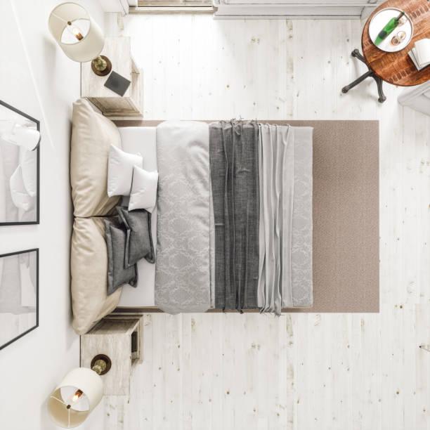 Classic Scandinavian Bedroom From Top View:スマホ壁紙(壁紙.com)