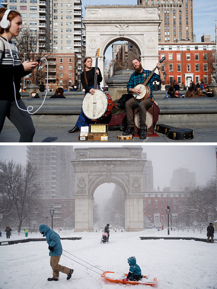 Snowing「From Balmy To Snow Storm: Extreme 48-Hour Weather Swing In New York City」:写真・画像(2)[壁紙.com]