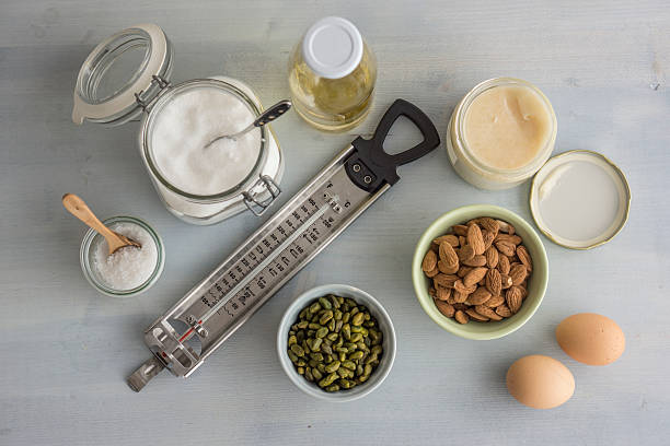 Thermometer and ingredients for making turron, elevated view:スマホ壁紙(壁紙.com)
