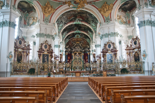 Abbey - Monastery「Inside the Cathedral from abbey of St. Gallen」:スマホ壁紙(15)