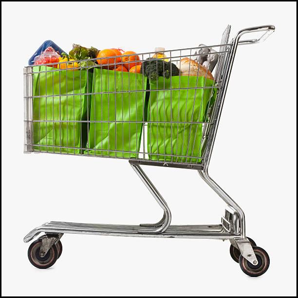 Grocery cart full of bags of groceries:スマホ壁紙(壁紙.com)