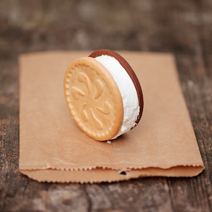 アイスクリーム「Ice cream cookie sandwich stands on paper bag」:スマホ壁紙(14)