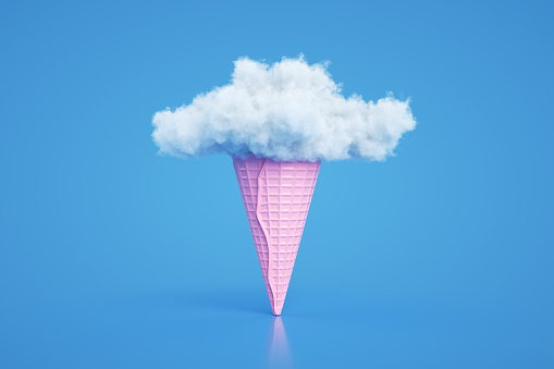 Fun「Ice cream cone with cloud, Minimal Surreal Summer Concept, 3D Abstract Background」:スマホ壁紙(0)