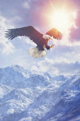 Claw「Fierce eagle flying in cloudy sky over mountain range in winter」:スマホ壁紙(4)