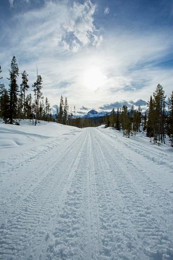Sled「Tire tracks on snowy remote road」:スマホ壁紙(0)