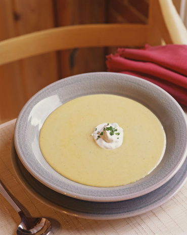 Sour Cream「Cream soup with sour cream and chive garnish」:スマホ壁紙(17)