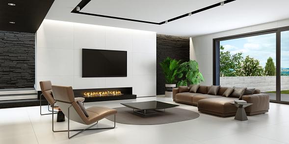 Villa「Modern minimalist black and white living room with eco fireplace」:スマホ壁紙(4)