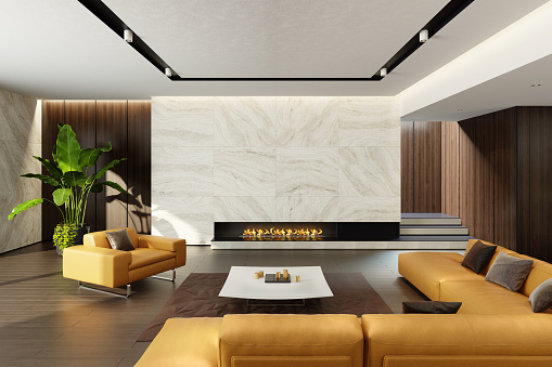 Villa「Modern minimalist living room with eco fireplace」:スマホ壁紙(0)