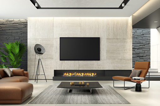 Villa「Modern minimalist living room with eco fireplace」:スマホ壁紙(7)