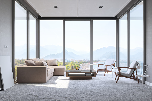 Domestic Room「Modern Minimalist Living Room With Panoramic Ocean View」:スマホ壁紙(14)