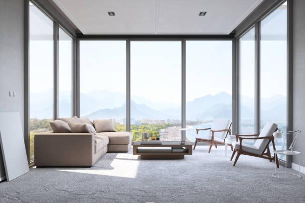 Modern Minimalist Living Room With Panoramic Ocean View:スマホ壁紙(壁紙.com)