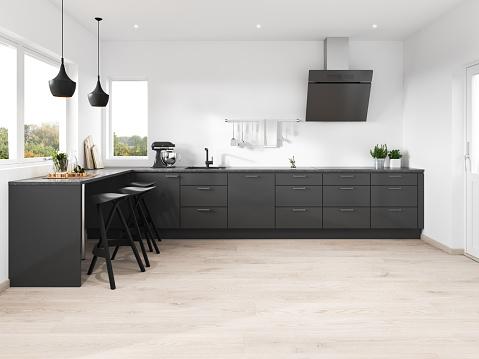 Black Color「Modern minimalist kitchen」:スマホ壁紙(15)
