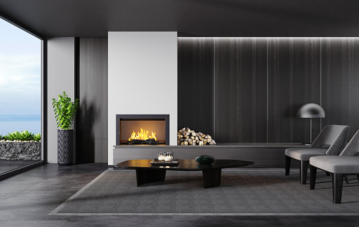Lobby「Modern minimalist apartment interior living room with fireplace」:スマホ壁紙(3)