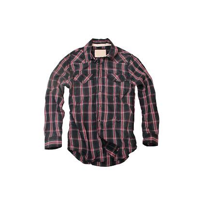 Tartan check「レッドとブラックの格子柄のカウボーイシャツ、白背景」:スマホ壁紙(13)
