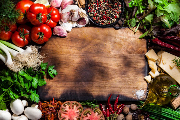 Cutting board with fresh ingredients for cooking and seasoning:スマホ壁紙(壁紙.com)