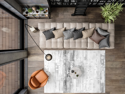 Directly Above「Top View Of Modern Living Room」:スマホ壁紙(13)