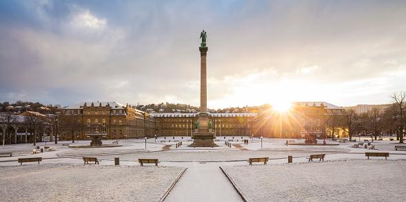 Stuttgart「Germany, Stuttgart, Schlossplatz, Neues Schloss and jubilee column in winter」:スマホ壁紙(8)