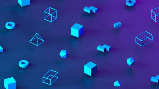 Abstract 3D Render Primitives Geometric Shapes Isometric Background:スマホ壁紙(壁紙.com)