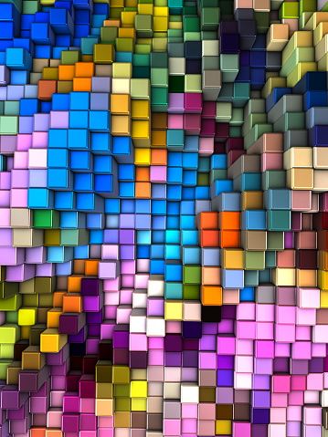 Data Center「Abstract 3d background with different cubes of different colors」:スマホ壁紙(11)