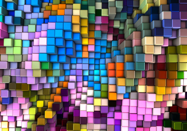 Abstract 3d background with different cubes:スマホ壁紙(壁紙.com)