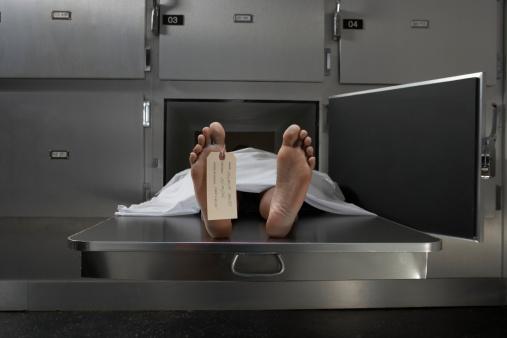 夕焼け 海「Cadaver on autopsy table, label tied to toe」:スマホ壁紙(3)
