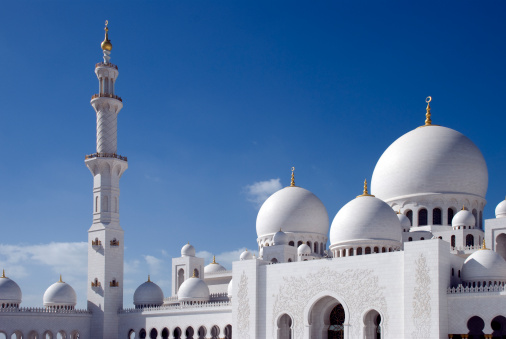 Praying「The Grand Mosque in Abu Dhabi with beautiful blue sky」:スマホ壁紙(9)