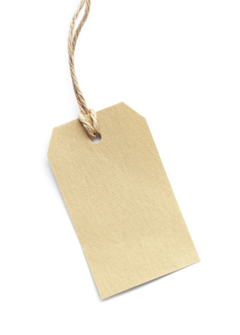 Consumerism「Blank tag tied with brown string on white」:スマホ壁紙(5)