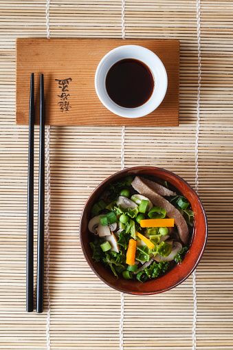 Soy Sauce「Bowl of miso soup with carrots, champignons and savoy」:スマホ壁紙(3)