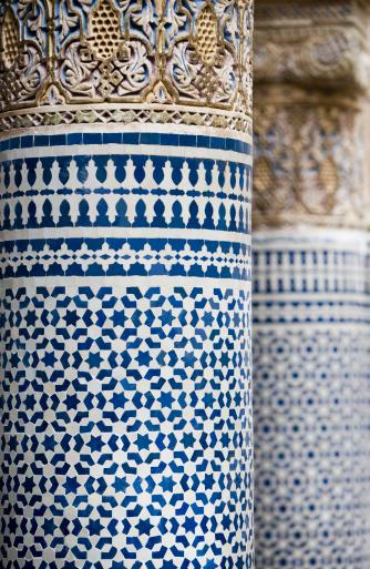 "Fretwork「""Tile work and carving on decorative column, close-up ""」:スマホ壁紙(13)"