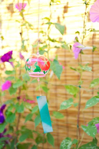 朝顔「Windchime and Morning Glory Flowers」:スマホ壁紙(9)
