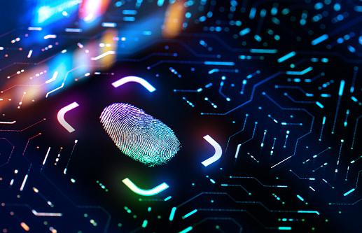 Password「Fingerprint Biometric Authentication Button. Digital Security Concept」:スマホ壁紙(7)